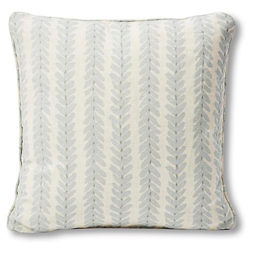 Woodperry Pillow, Ivory/Sky Blue Linen