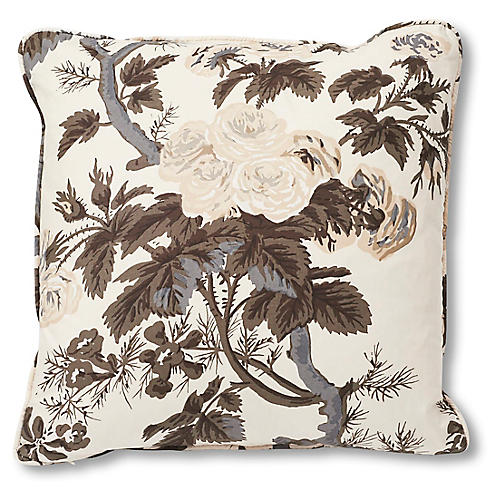 Hollyhock 18x18 Pillow, Ivory/Charcoal