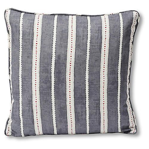 Amour 18x18 Pillow, Charcoal Stripe Linen