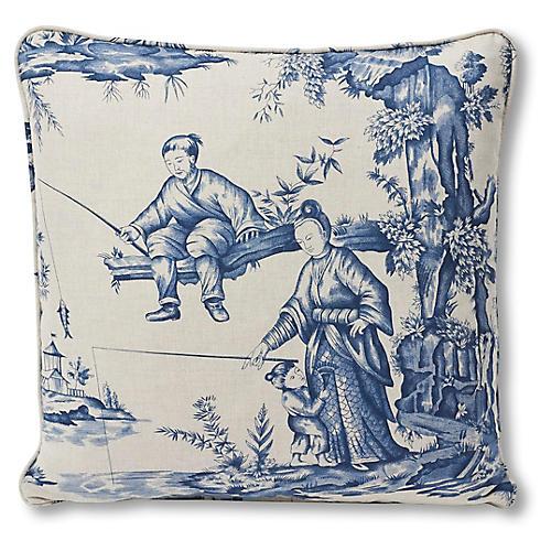 Shengyou Pillow, Ivory/Indigo Linen