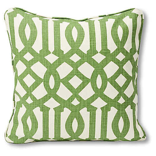 Trellis 18x18 Pillow, Lime/Ivory Linen