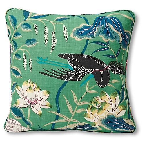 Lotus Pillow, Jade Linen