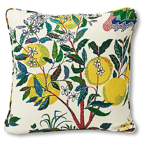 Citrus 18x18 Pillow, Yellow/Green Linen