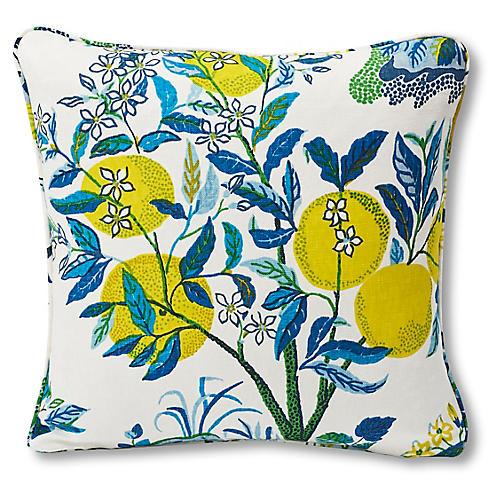 Citrus Pillow, Ivory/Blue Linen
