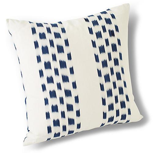 Izmir 18x18 Pillow, Indigo/Ivory Linen