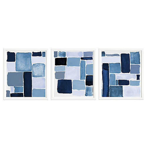 , S/3 Blue Abstract Triple