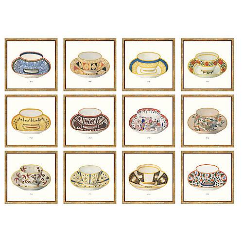 12-Pc British Teacups, 12-Pc British Teacups