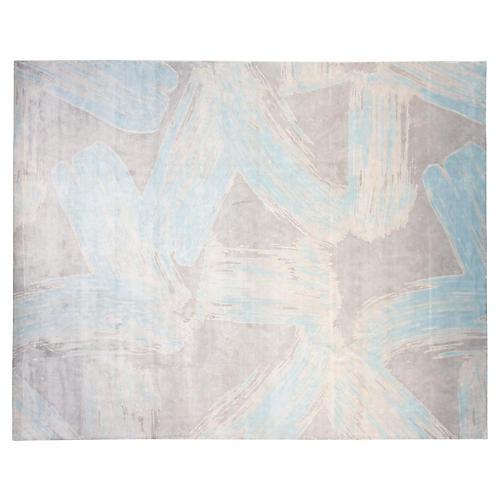 9'x12' Amanda Rug, Silver/Aqua