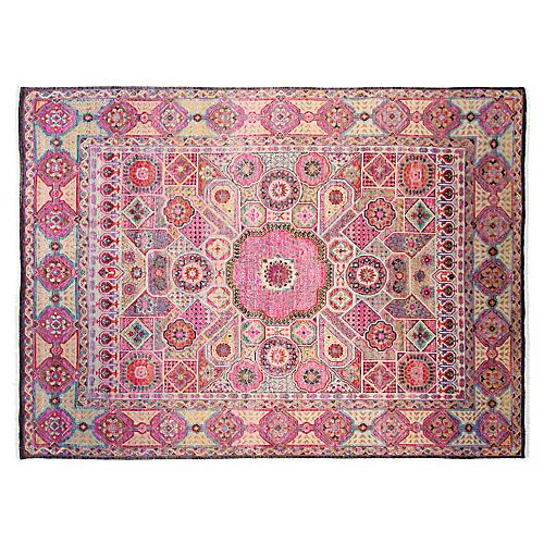 9'x12' Sari Silk Khotan Rug, Purple/Multi