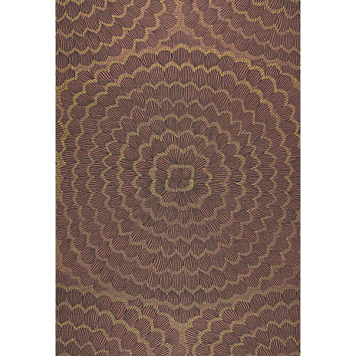 Feather Bloom Wallpaper, Golden Plum