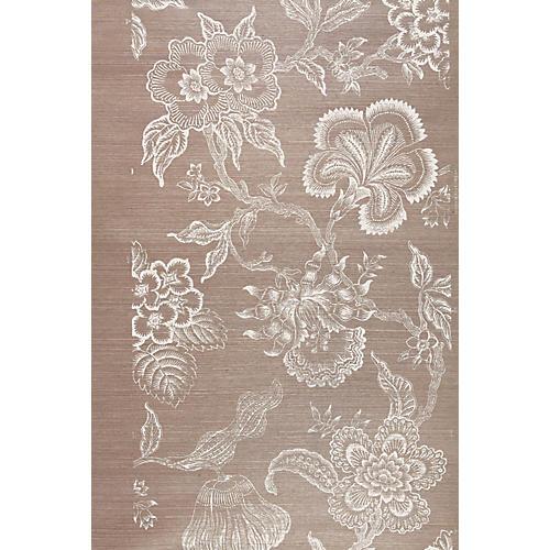 Hothouse Flowers Sisal Wallpaper, Brown