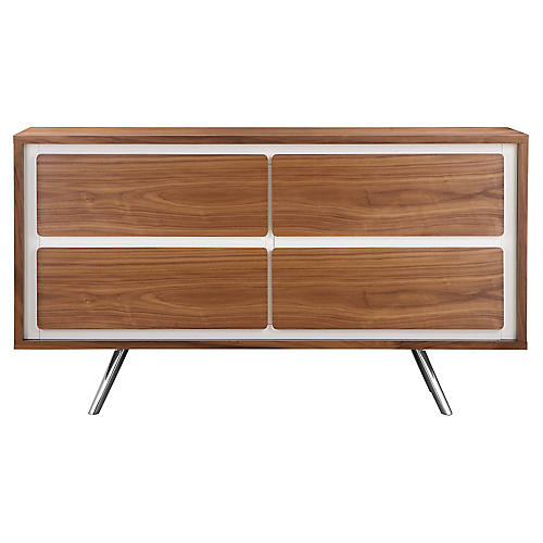 Hal 4-Drawer Dresser, White/Walnut