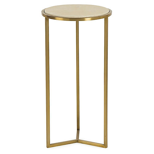 Holly Faux-Shagreen Side Table, Sand