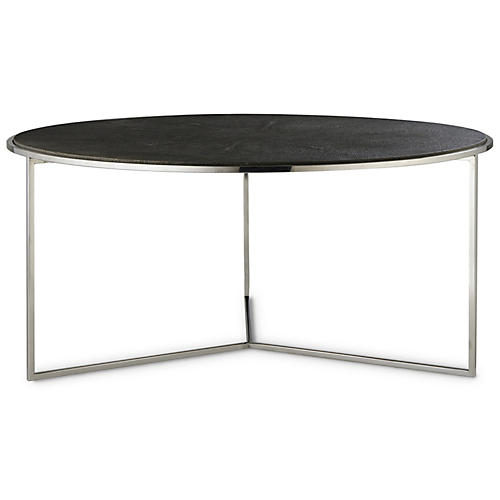 Nathan Faux-Shagreen Coffee Table, Charcoal
