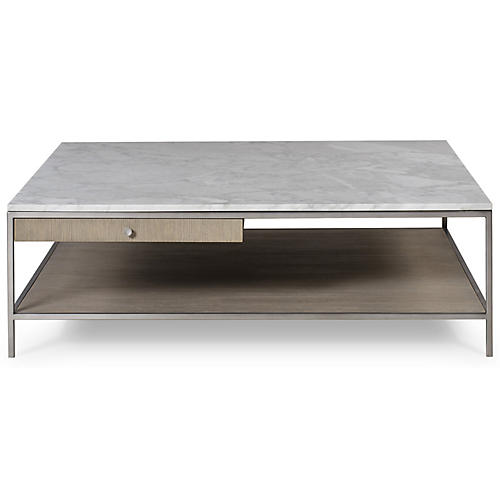 Paxton Square Coffee Table, White Marble
