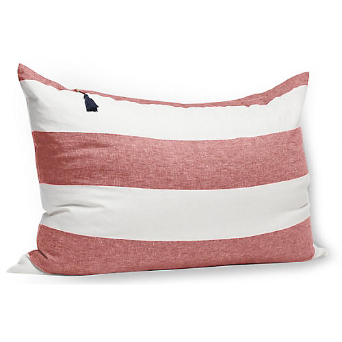 Habour Island 24x26 Wide Pillow, Red Linen