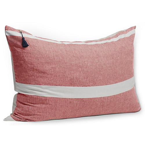 Majorca 24x36 Wide Pillow, Red Linen