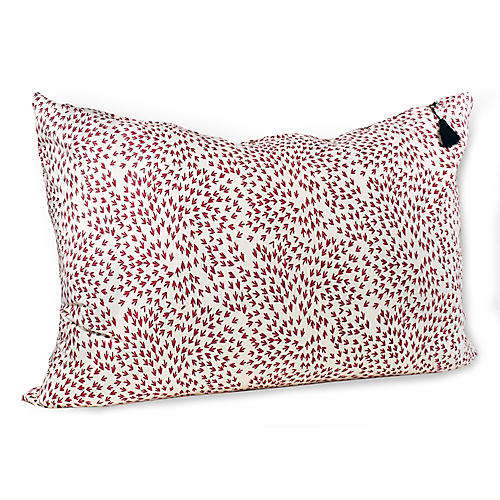 Normandy Arrows 24x36 Wide Pillow, Red Linen