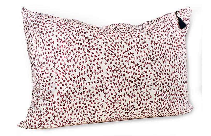 Normandy Arrows 24x36 Wide Pillow, Red Linen