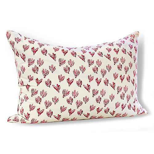 Normandy Bows 24x36 Wide Pillow, Red Linen