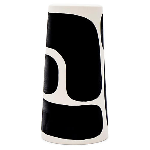 Block Pillar Vase, Black/White
