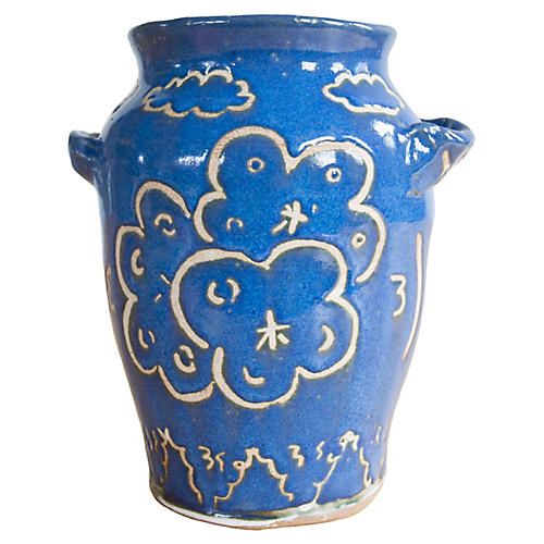 "8"" Flowers in Landscape Vase, Indigo/Off-White"