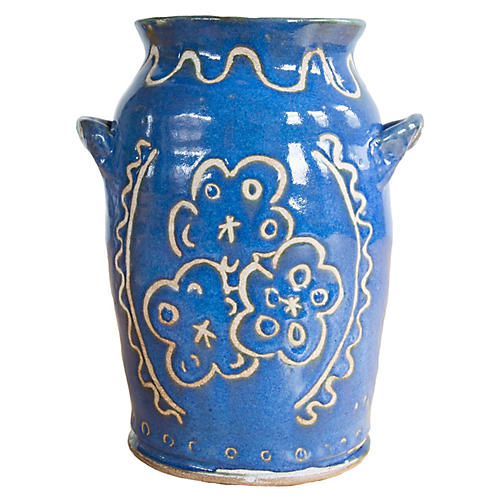 "8"" Flowers & Waves Vase, Indigo/Off-White"