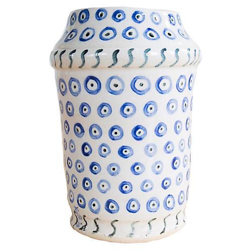 "6"" Dots All Around Vase, Indigo/Off-White"
