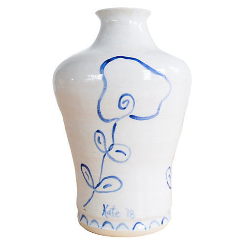 "7"" Leaning Flowers Vase, Off-White/Indigo"