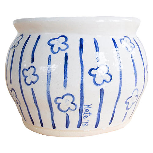 "6"" Stripes & Flowers Vase, Off-White/Indigo"