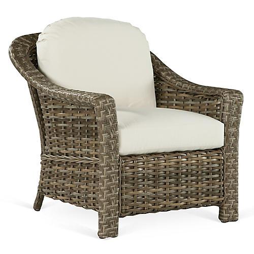 Serena Lounge Chair, Driftwood/Natural Sunbrella
