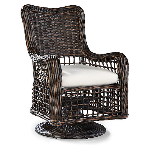 Moraya Bay Swivel Armchair, Brown/Natural