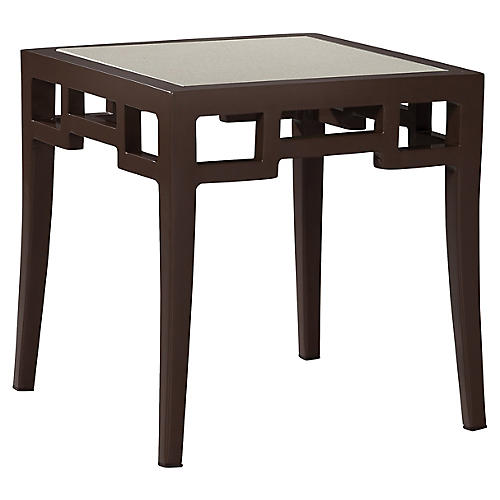 Redington Glass Side Table, Brown