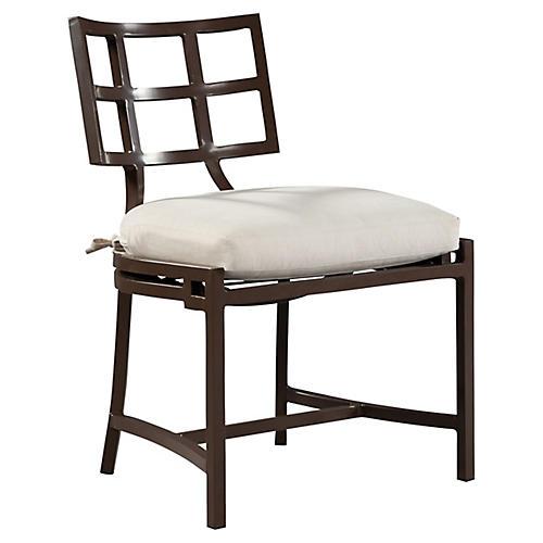 Redington Side Chair, Brown/Natural Sunbrella