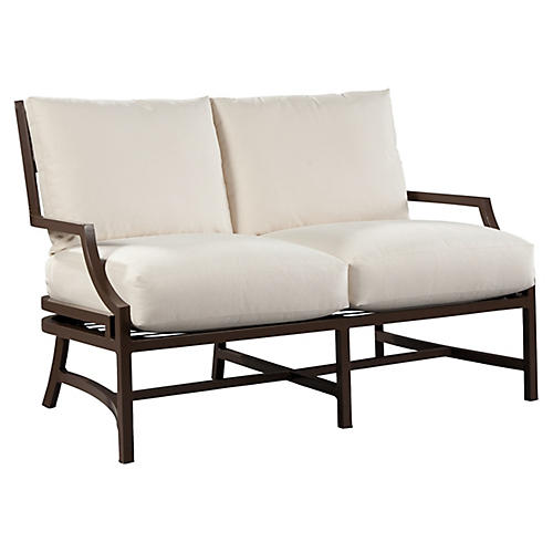 Redington Loveseat, Brown/Natural Sunbrella
