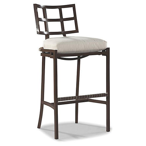 Redington Barstool, Brown/Natural Sunbrella