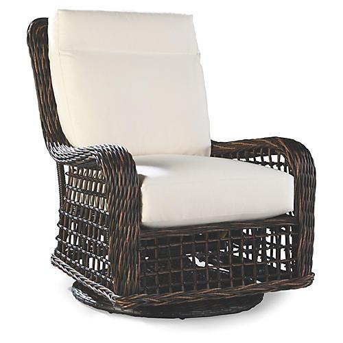 Moraya Bay Glider Chair, Brown/Natural Sunbrella