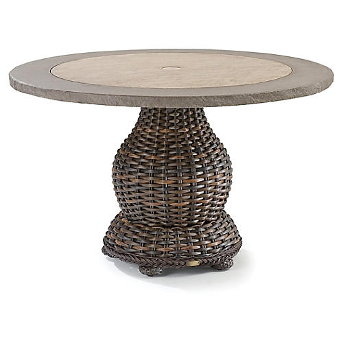 South Hampton Round Dining Table, Tuscan Brown