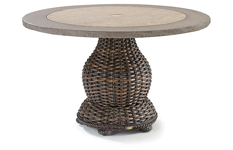 South Hampton Round Dining Table, Tuscan Brown