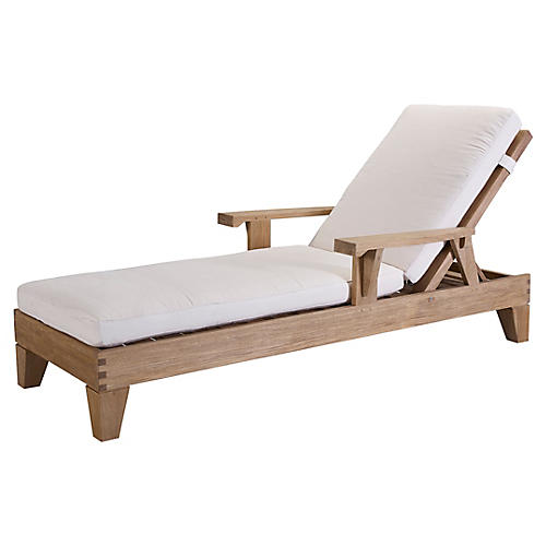 Saranac Chaise, Natural Sunbrella