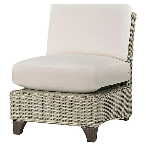 Requisite Armless Chair, Bone/Natural Sunbrella