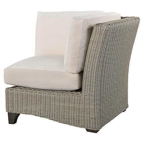 Requisite Corner Chair, Bone/Natural Sunbrella