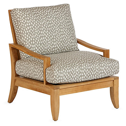 Aura Teak Lounge Chair, Cheetah Sunbrella