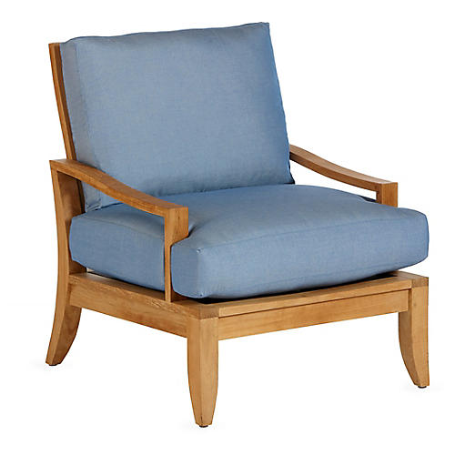 Aura Teak Lounge Chair, Blue Sunbrella