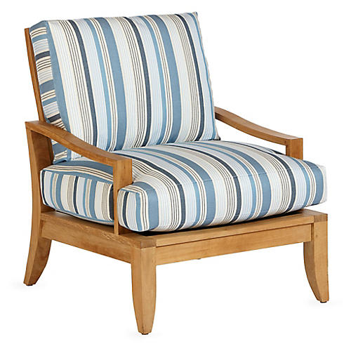 Aura Teak Lounge Chair, Blue Stripe Sunbrella