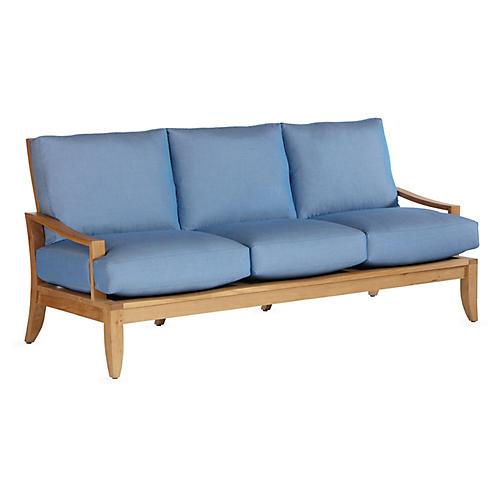 Aura Teak Sofa, Blue Sunbrella
