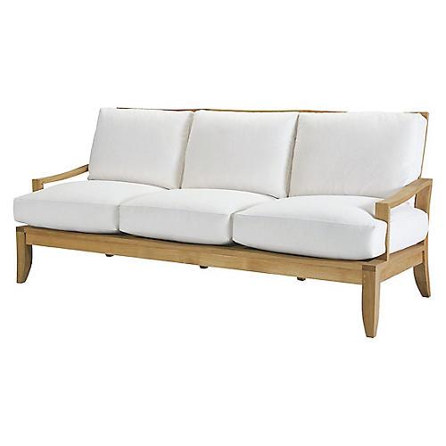 Aura Teak Sofa, Natural Sunbrella