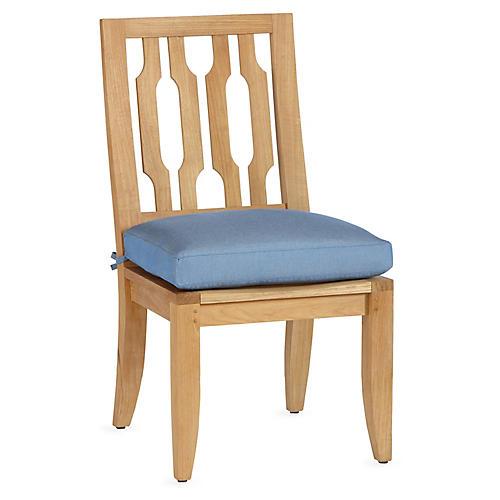 Aura Teak Side Chair, Blue Sunbrella