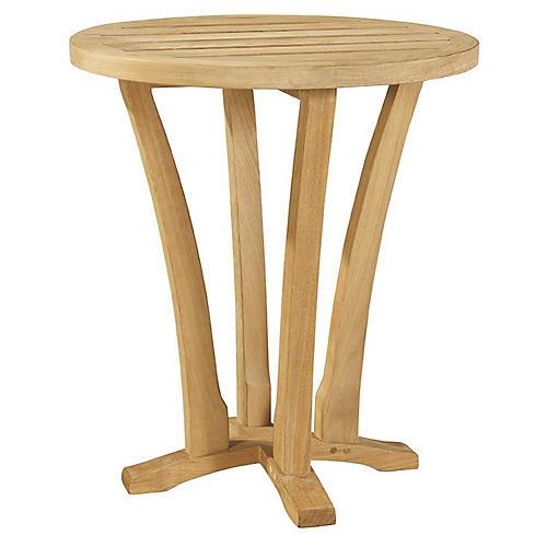Aura Teak Round Side Table, Natural Sunbrella