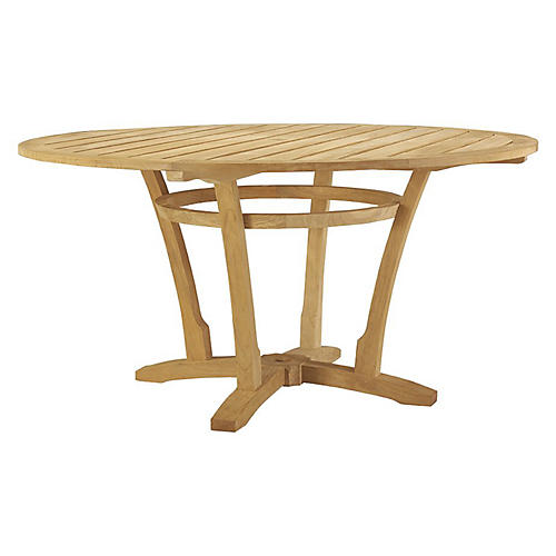 Aura Teak Dining Table, Natural Sunbrella